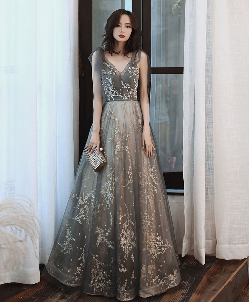 Gray v neck tulle lace sequin long prom dress gray tulle formal dress