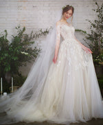 Light champagne tulle lace long wedding dress lace wedding gown