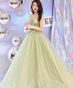 Simple sweetheart neck tulle long prom dress, green evening dress