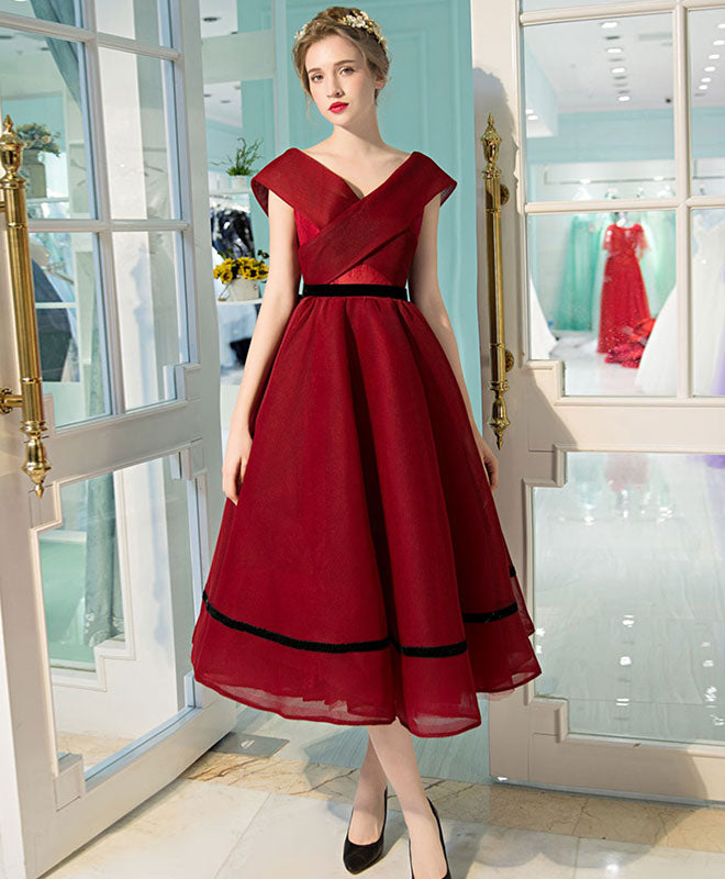 Simple burgundy v neck tea length prom dress, burgundy evening dress