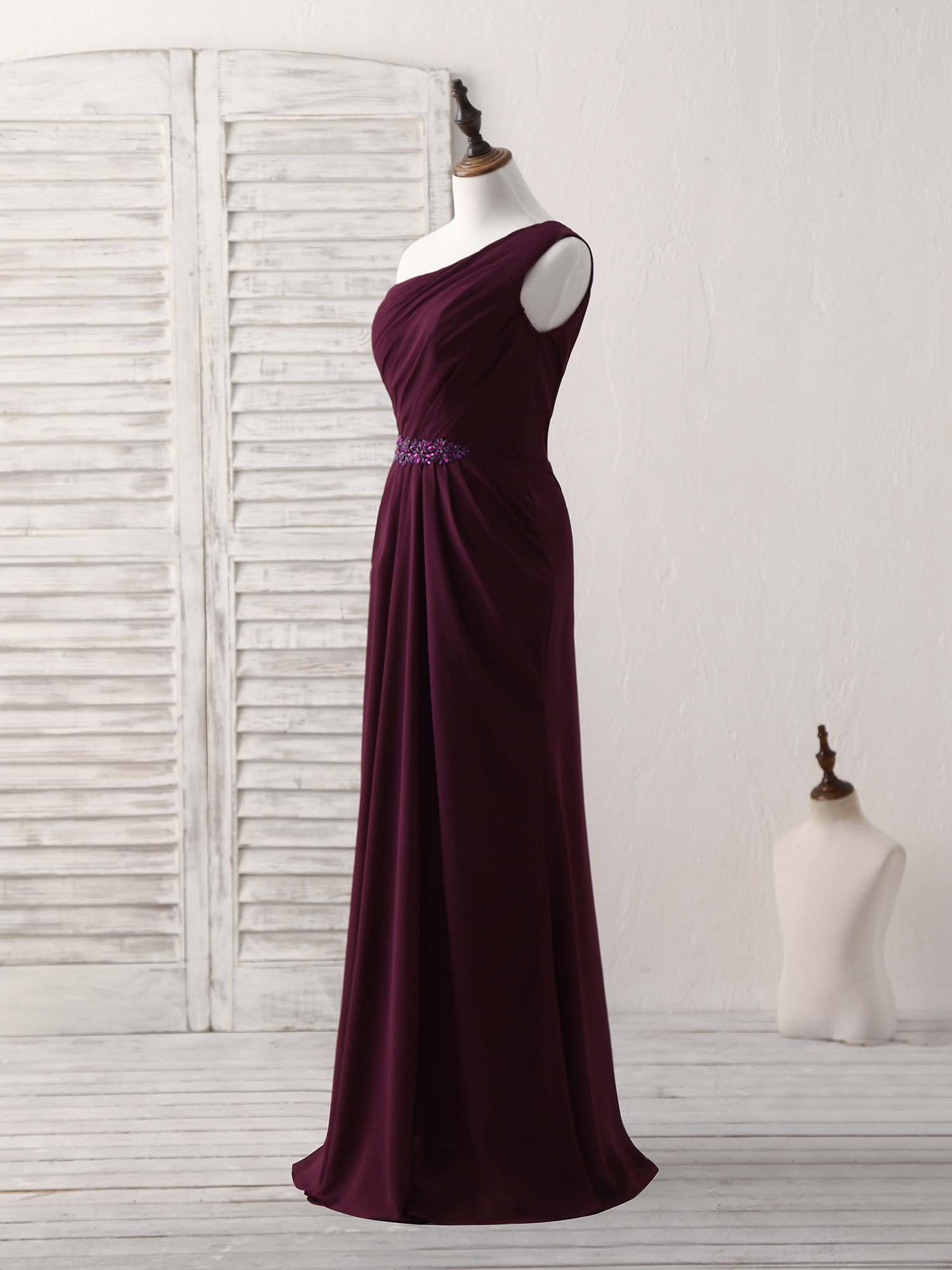 Burgundy one shoulder chiffon mermaid long prom dresses