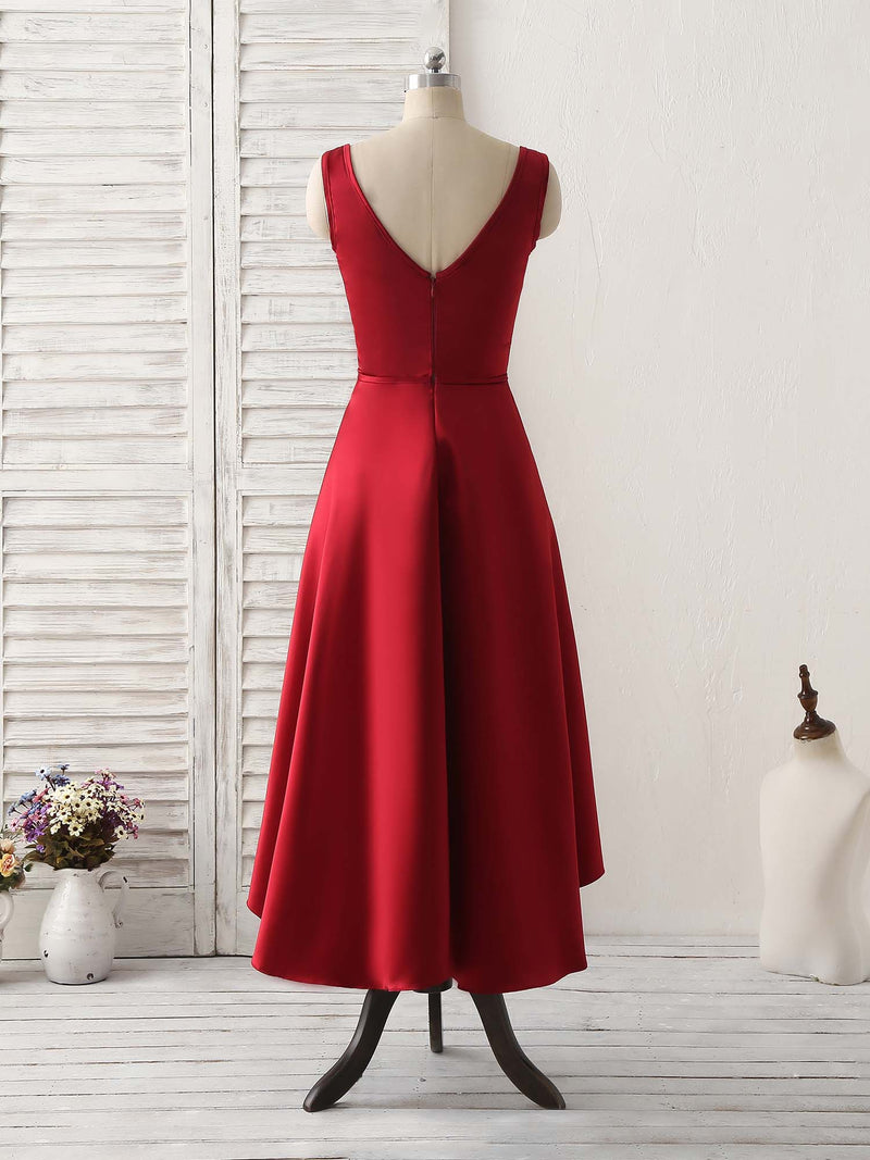 Simple v neck high low prom dress burgundy evening dress