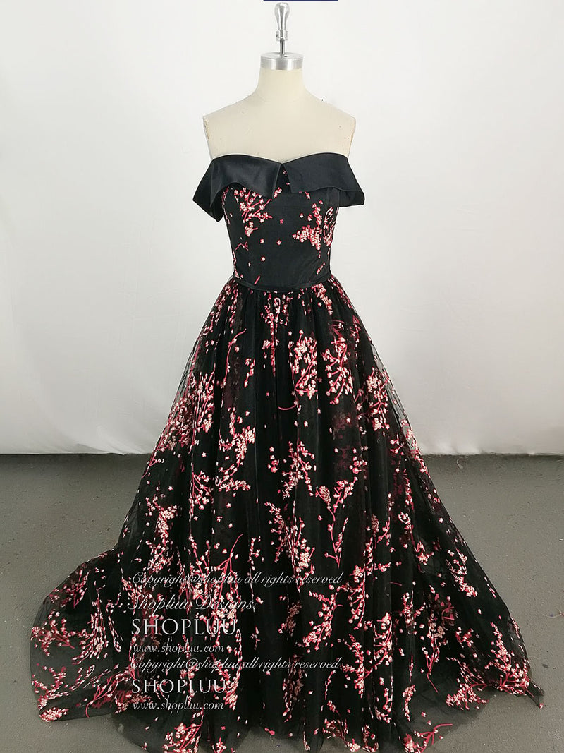Black tulle lace long prom dress, tulle black evening dress