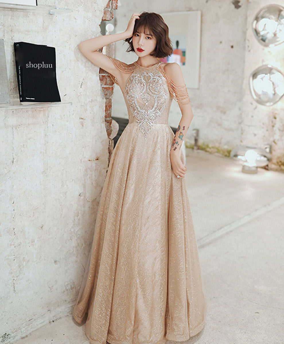 Champagne round neck tulle sequin beads long prom dress