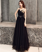 Black sweetheart tulle long prom dress, black tulle evening dress