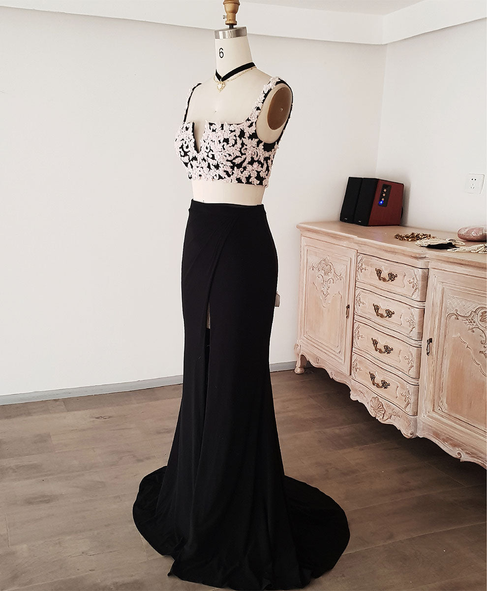 Black lace two pieces long prom dress black evening dress