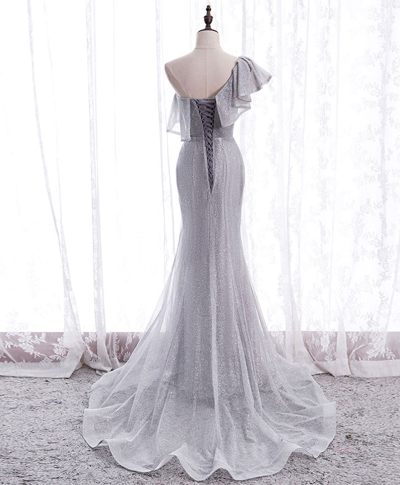 Gray tulle mermaid long prom dress gray tulle formal dress