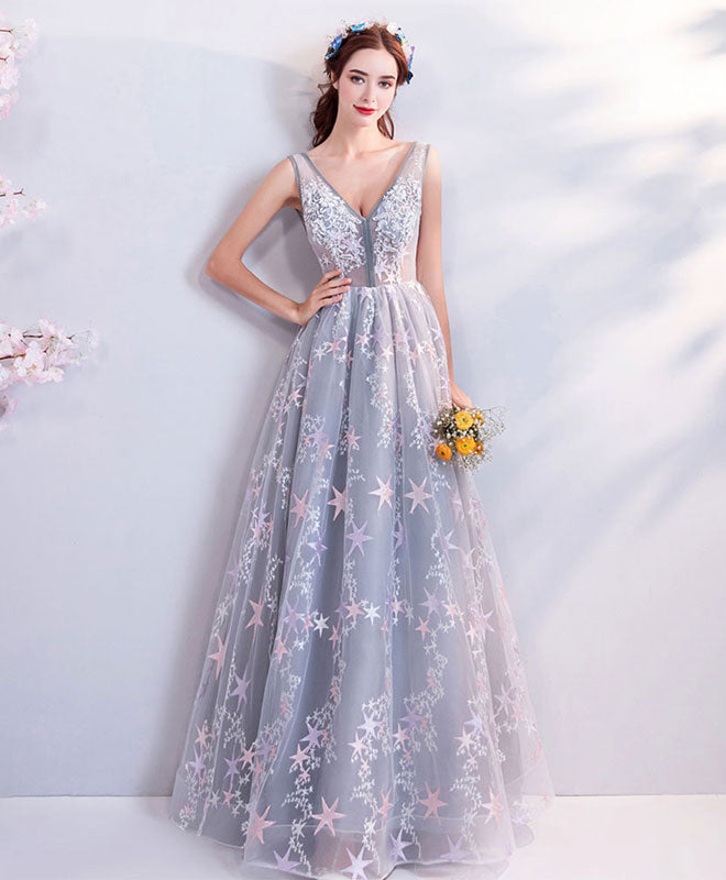 Gray v neck lace long prom dress, gray evening dress