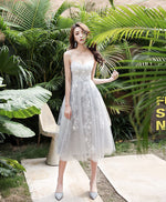 Gray tulle lace short prom dress gray homecoming dress