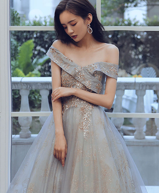 Unique sweetheart off shoulder lace long prom dress tulle evening dress