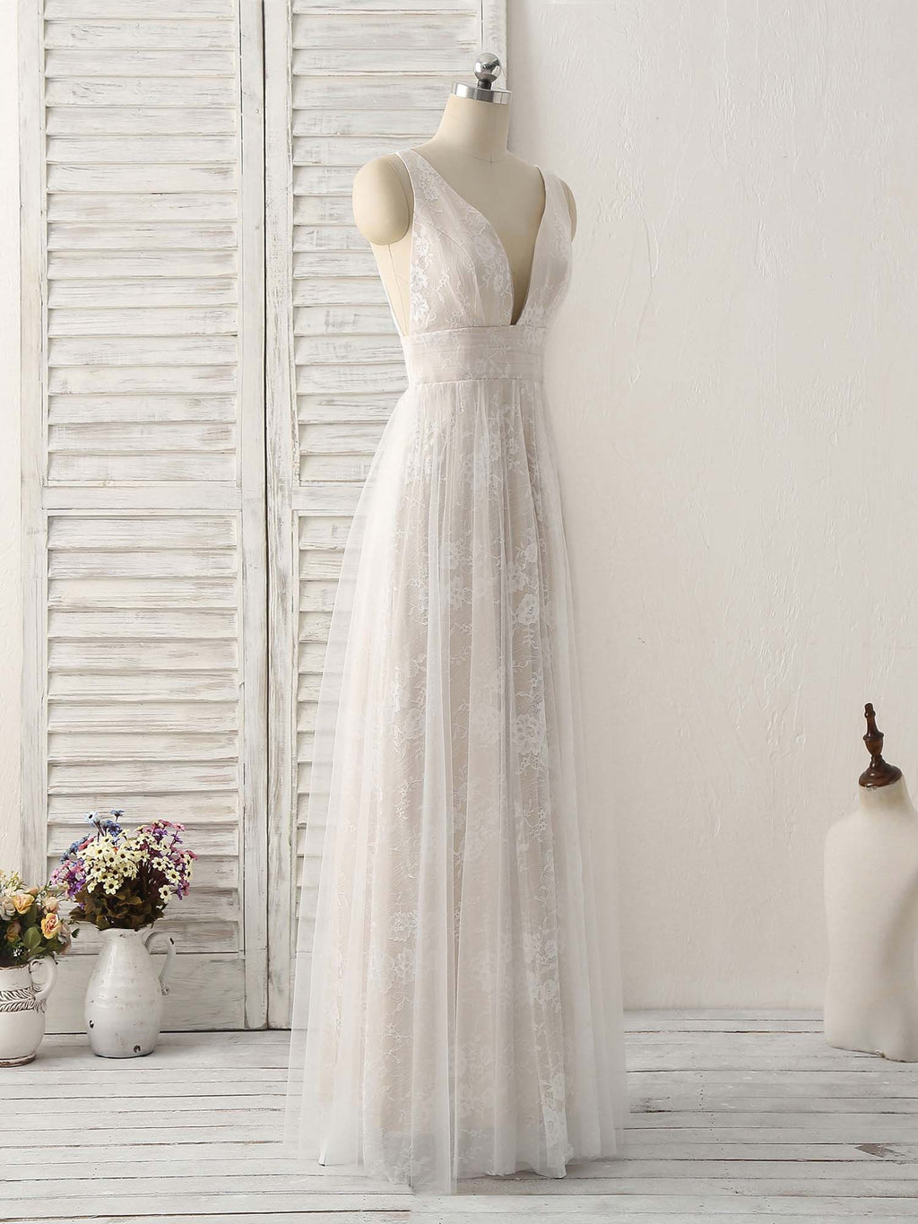 White v neck lace long prom dress backless lace evening dress
