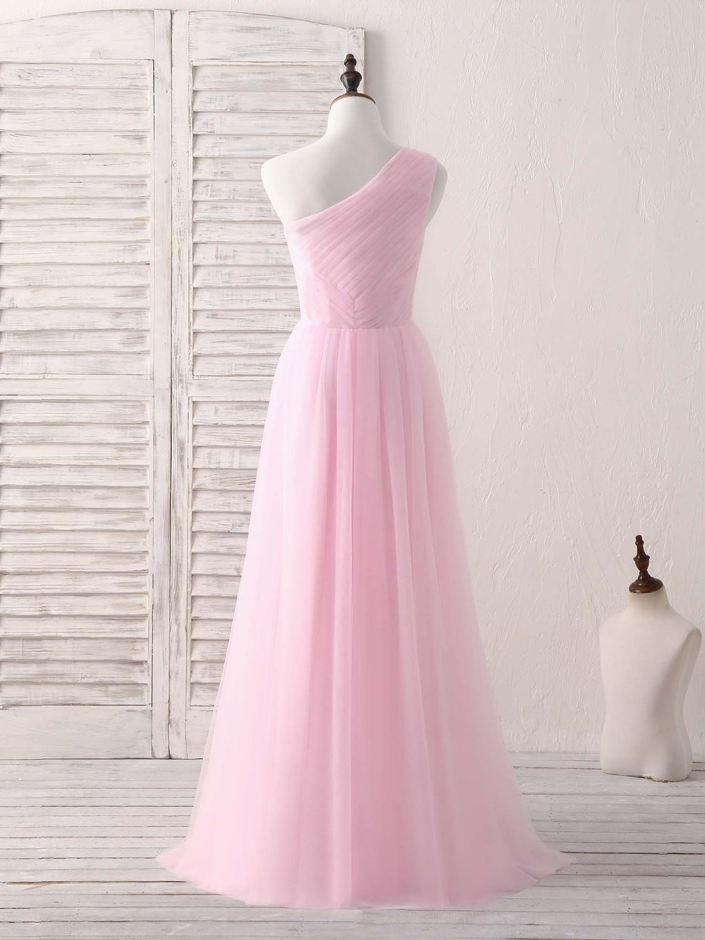 Pink tulle one shoulder long prom dress pink bridesmaid dress