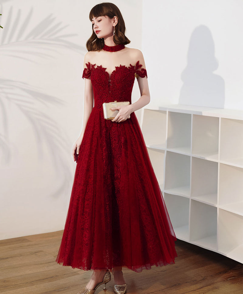 Burgundy high neck tulle lace tea length prom dress lace evening dress