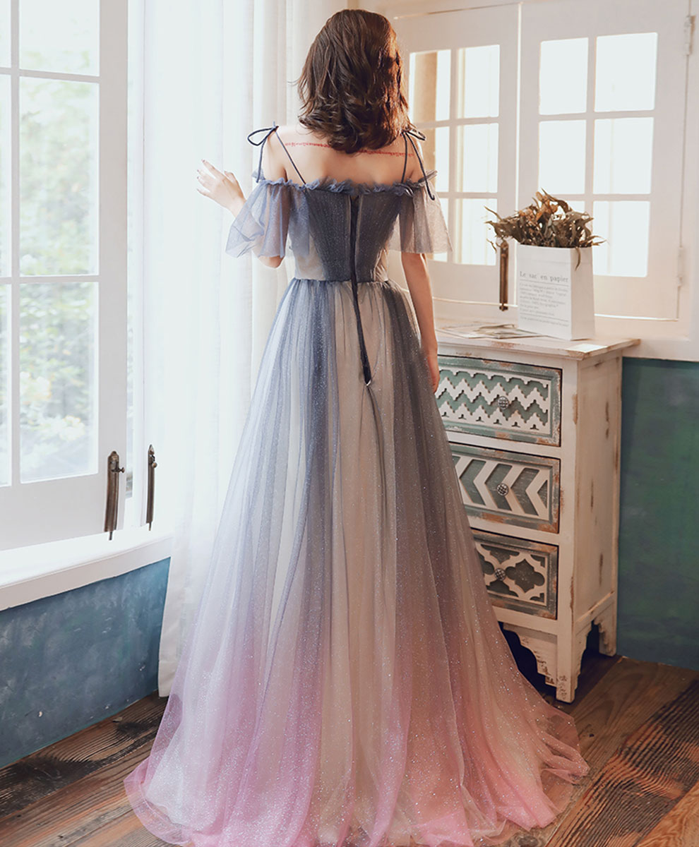 Gray blue tulle sequin long prom dress gray blue formal dress