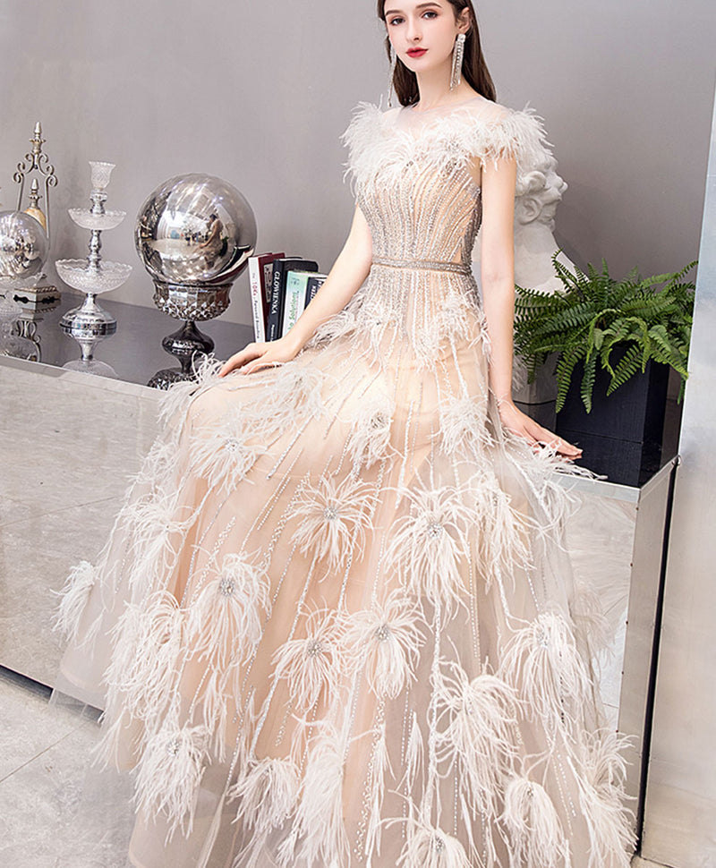 Champagne tulle beads long prom dress champagne tulle evening dress