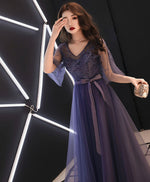 Elegant A-line tulle lace prom dress purple tulle formal dress
