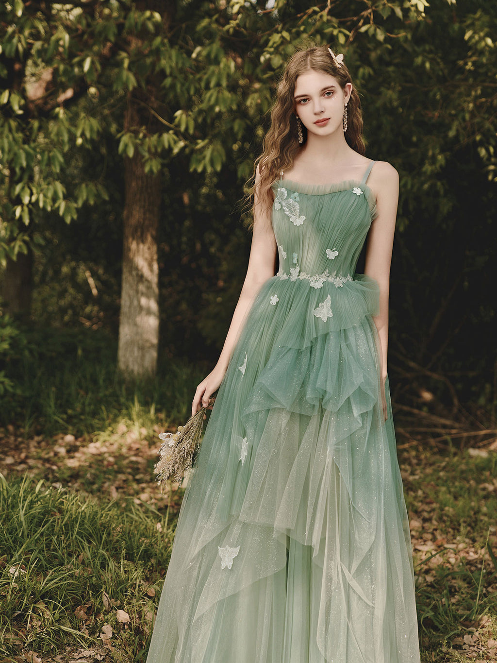 Green tulle lace long prom dress green tulle evening dress