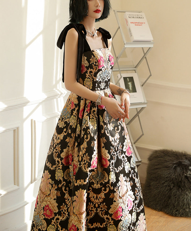 Unique satin long prom dress flowers satin long evening dress