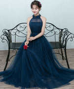 Simple blue tulle long prom dress, blue tulle bridesmaid dress
