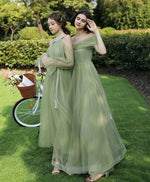 Simple green tulle long prom dress green tulle bridesmaid dress
