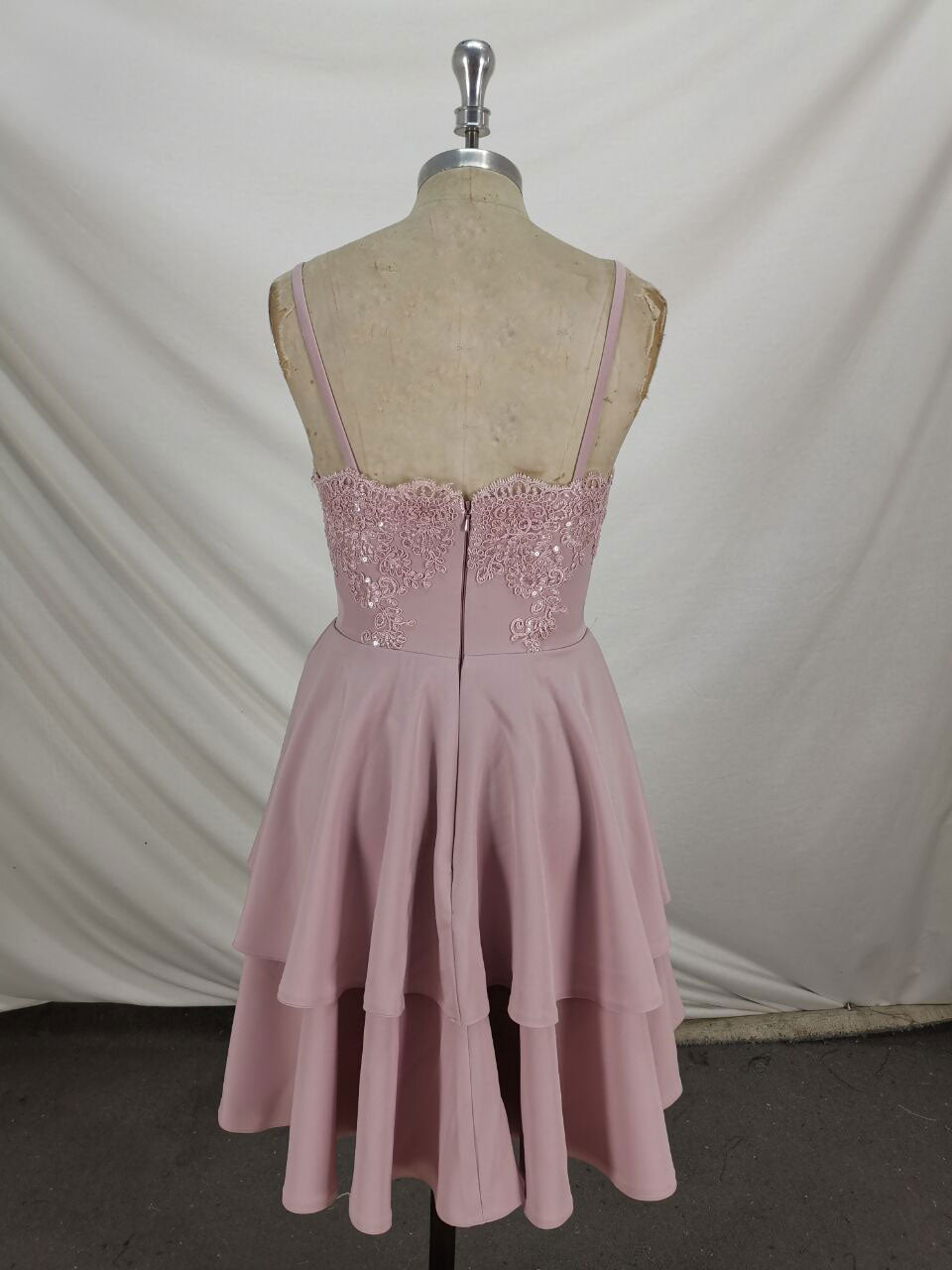 Pink lace satin short prom dress pink lace cocktail dress
