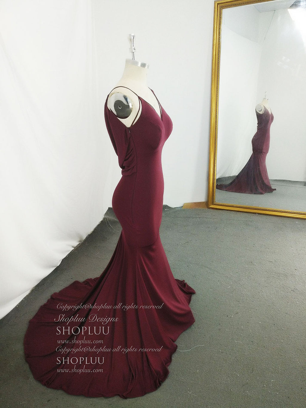 Simple burgundy mermaid long prom dress, burgundy evening dress
