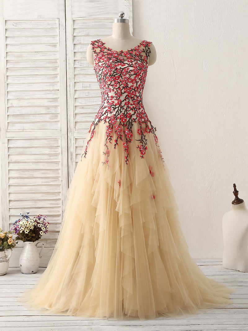 Champagne tulle long prom dress lace applique evening dress