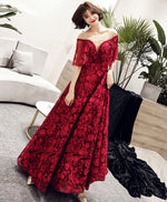 Burgundy tulle lace long prom dress, burgundy lace evening dress