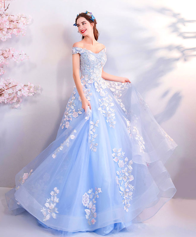 Blue lace tulle long prom dress, blue tulle evening dress