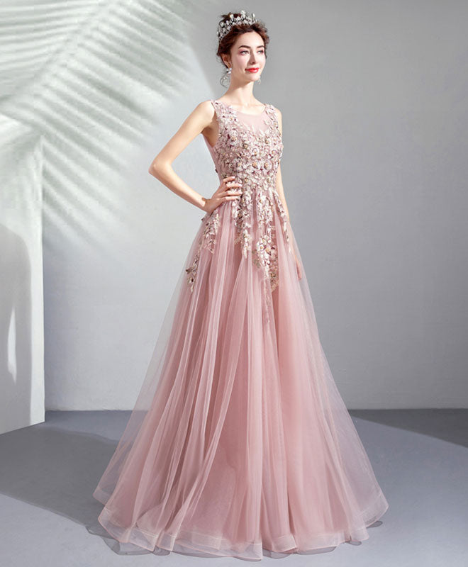 Pink round neck tulle lace long prom dress, lace evening dress