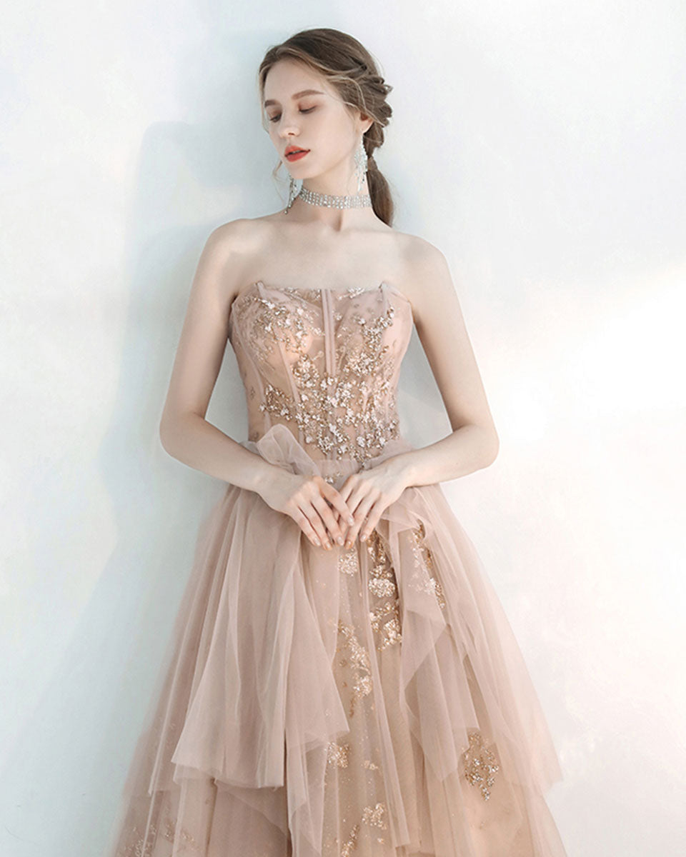 Champagne sweetheart tulle lace long prom dress