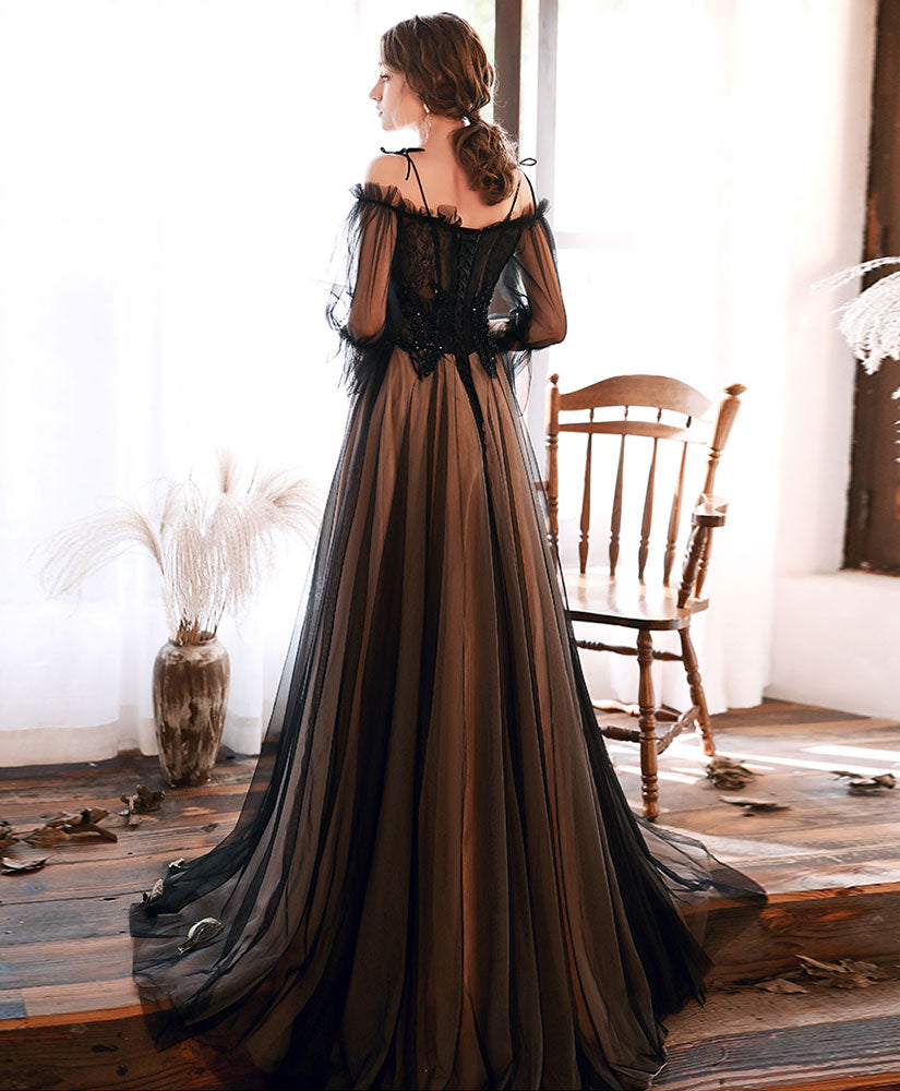Black tulle lace long prom dress black lace evening dress