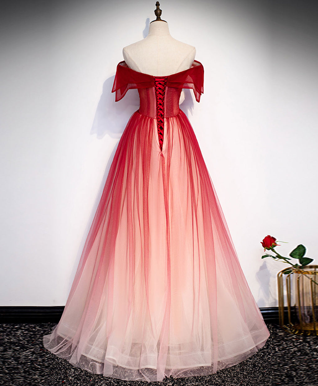 Burgundy off shoulder tulle long prom dress burgundy formal dress