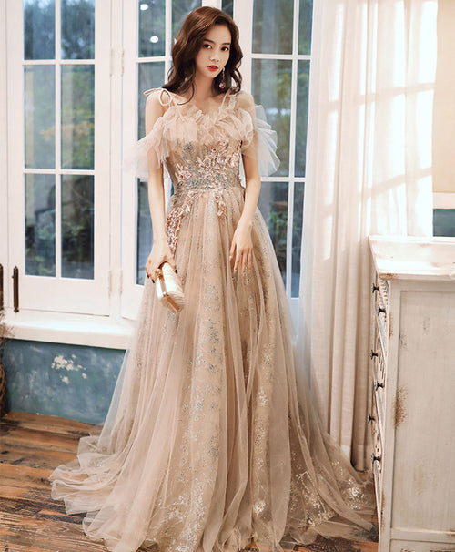Champagne tulle lace long prom dress champagne formal dress