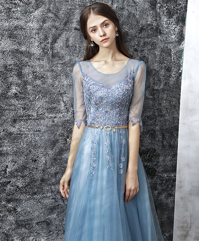 Blue round neck tulle lace long prom dress, blue evening dress