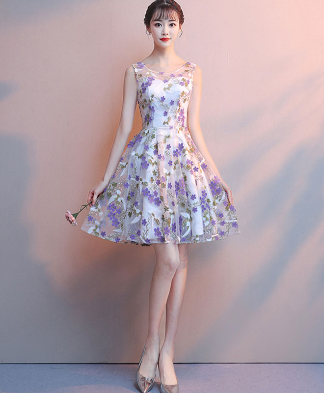 amazon exquisite style competitive price Cute tulle purple flower short prom dress tulle homecoming dress