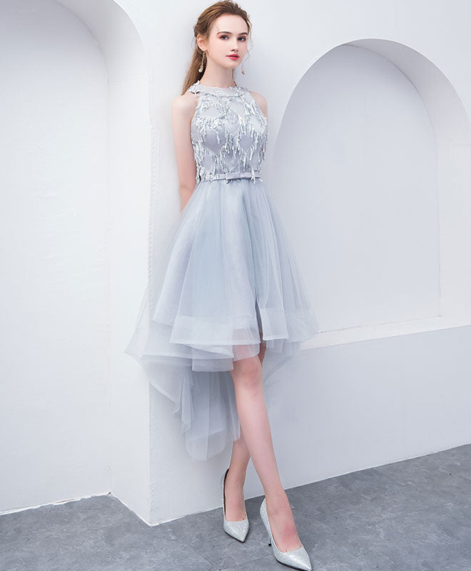 Cute high neck gray tulle short prom dress, tulle homecoming dress