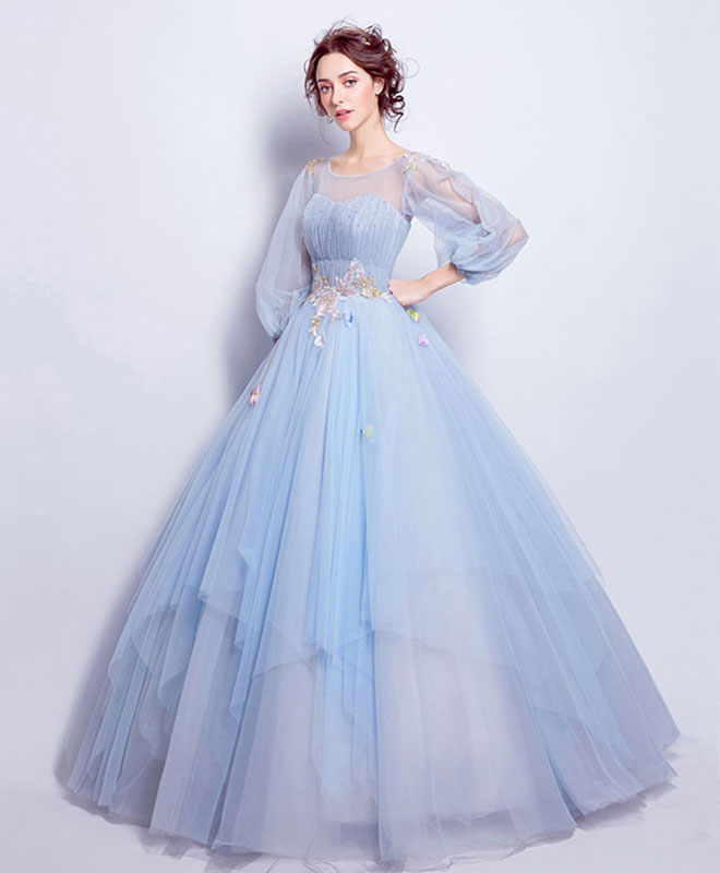 Blue round neck tulle blue long prom gown, blue evening dress