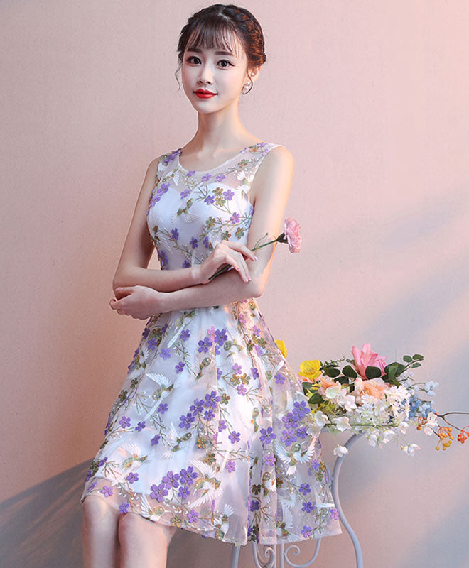 Cute tulle purple flower short prom dress tulle homecoming dress