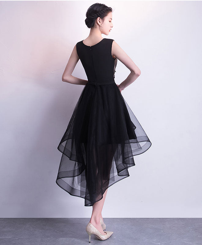 Black tulle short prom dress, black tulle homecoming dress