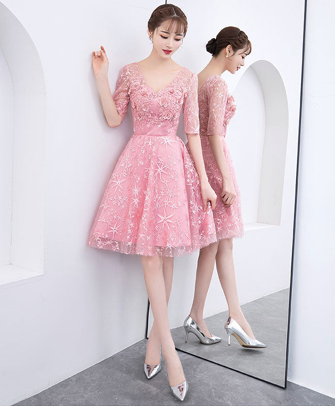 98e54a532f1 Pink tulle lace short prom dress