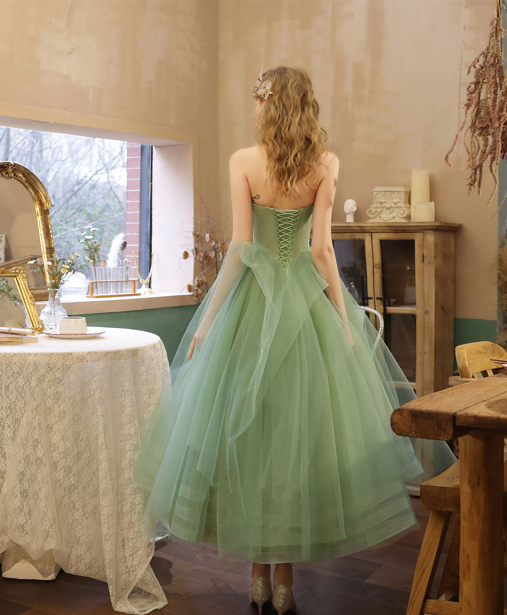 Green tulle lace tea length prom dress green tulle formal dress
