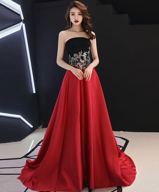 Burgundy satin lace long prom dress, burgundy evening dress