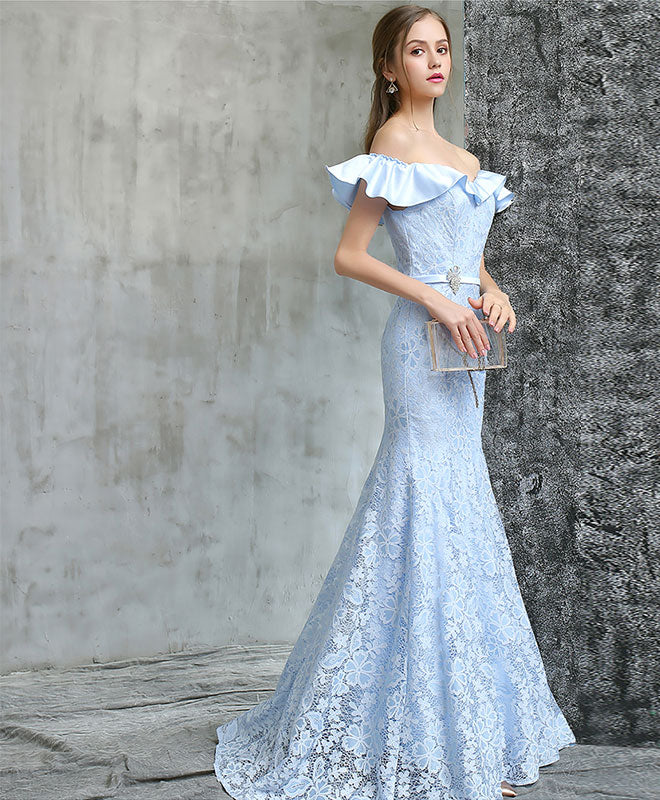 Blue lace mermaid long prom dress, blue evening dress