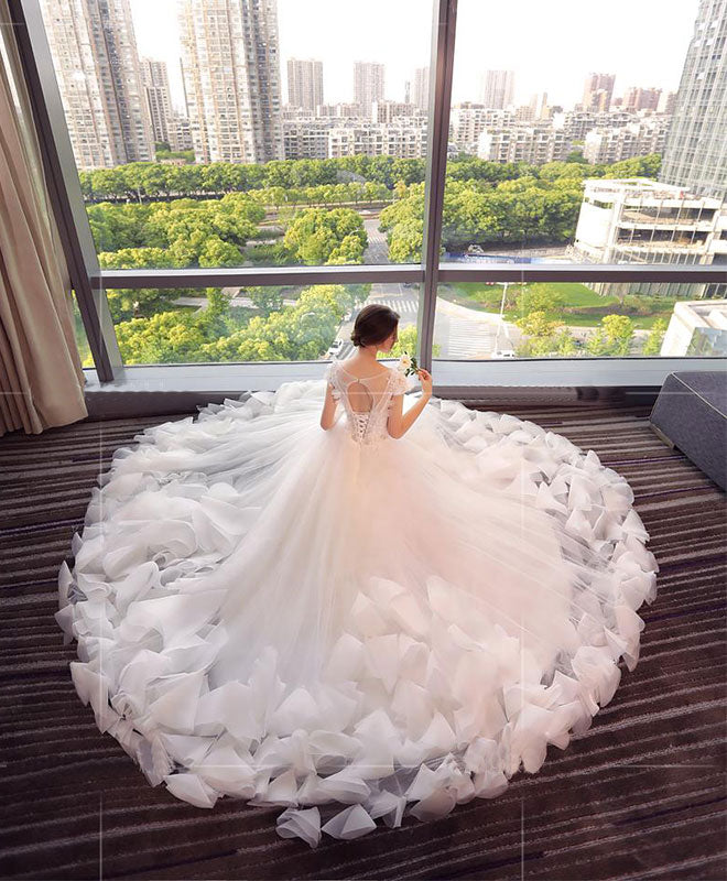 White round neck tulle lace long wedding dress, white wedding dresses