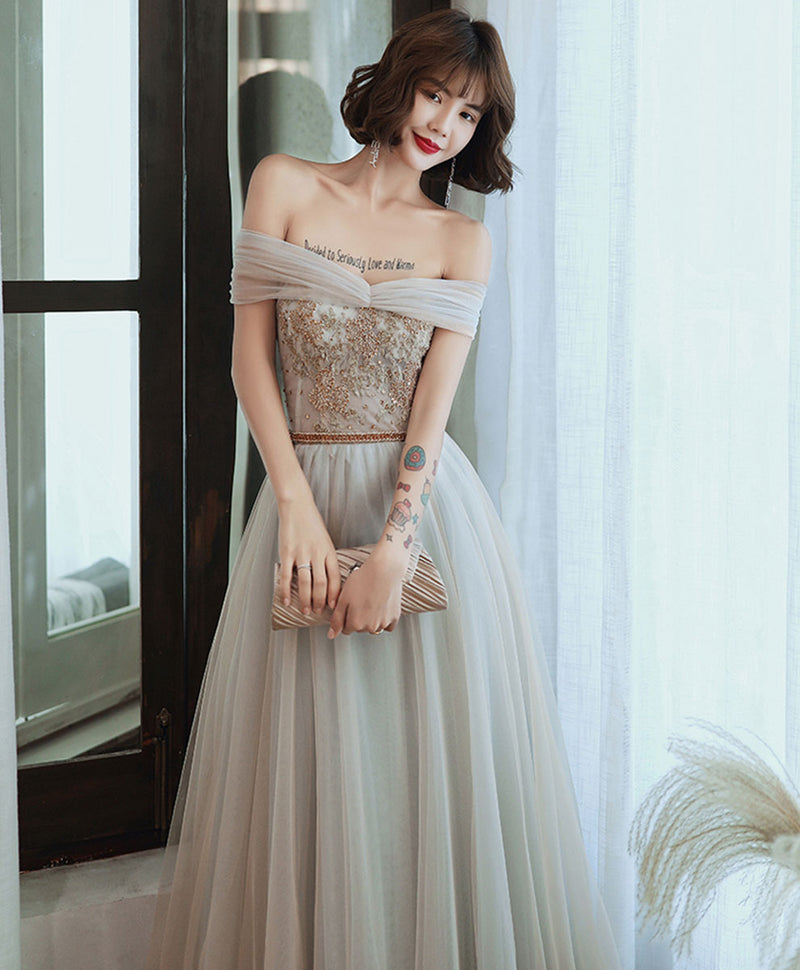 Gray tulle lace long prom dress tulle lace formal dress
