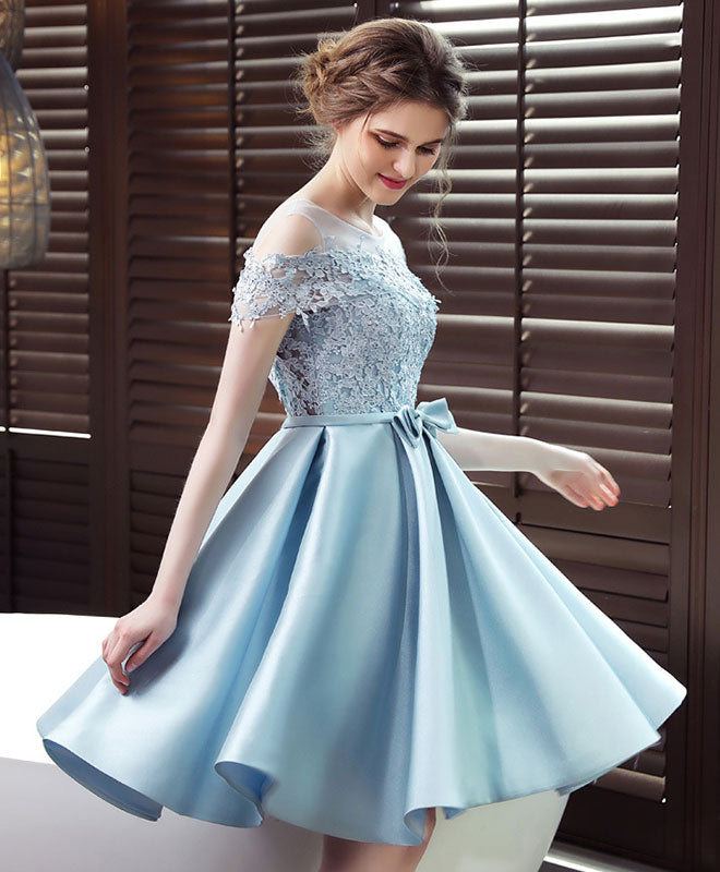 Blue round neck satin lace short prom dress, blue bridesmaid dress