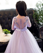 Purple tulle lace applique flower girl dress