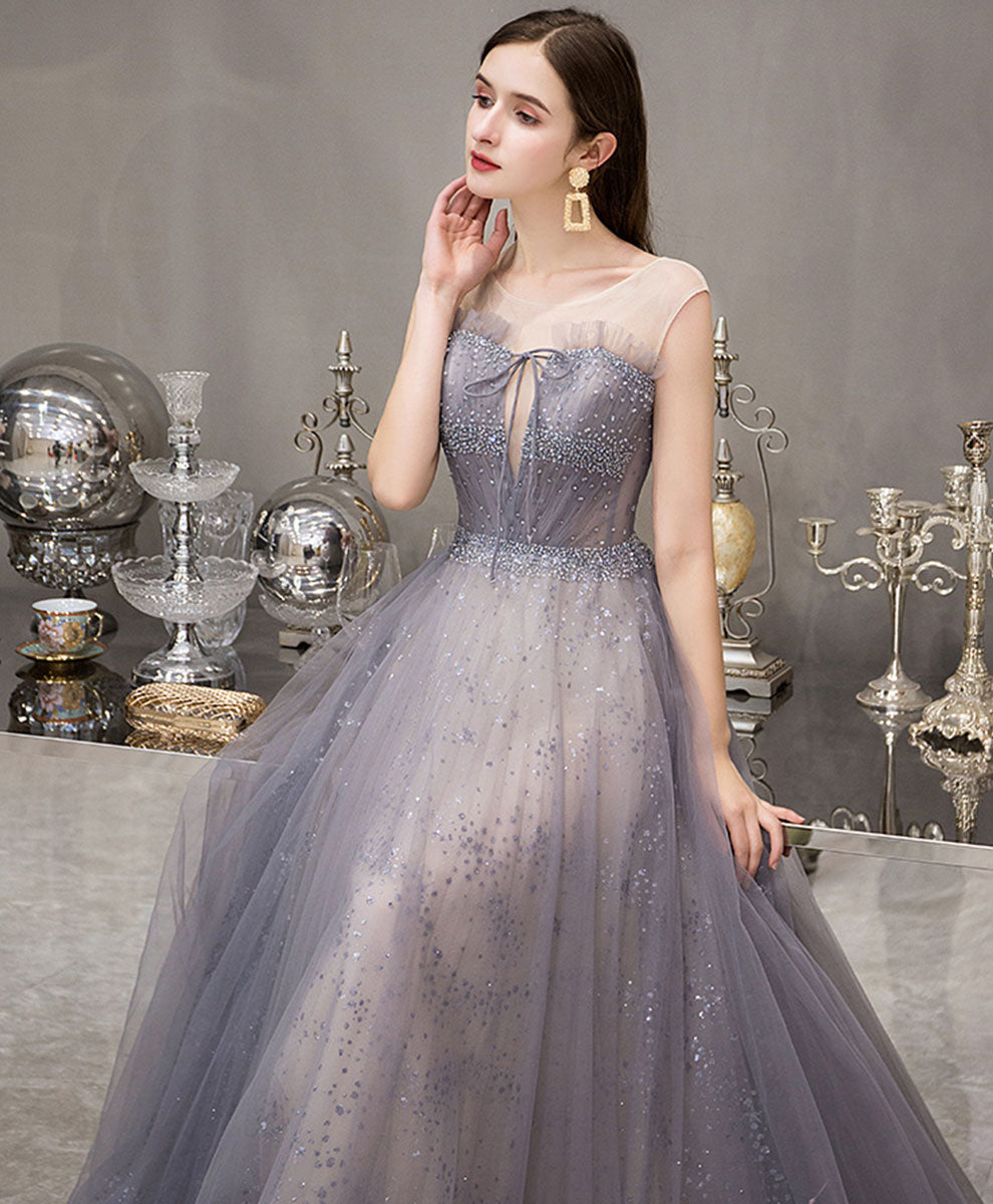 Blue round neck tulle sequin long prom dress blue evening dress