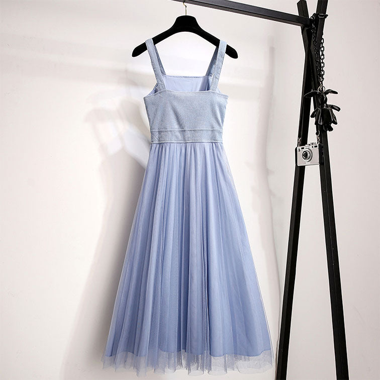 Blue cute tulle summer dress, women fashion dress